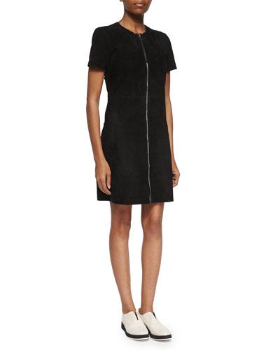 Short-Sleeve Zip-Front Suede Dress