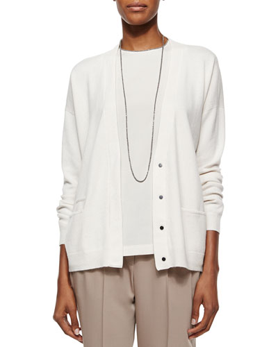 Monili Trimmed Layered Cardigan Top