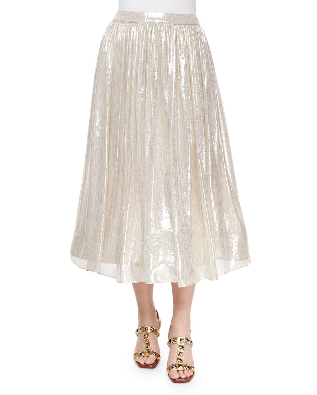 Evita Mid-Length Metallic Skirt, Silver