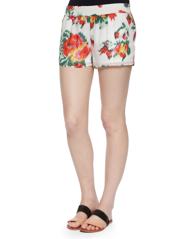 Lanina Floral Ikat-Printed Shorts, Porcelain