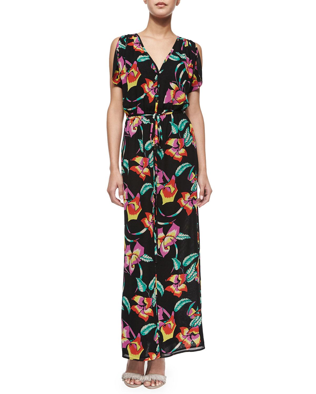 Lunaria B Tropical-Print Maxi Dress