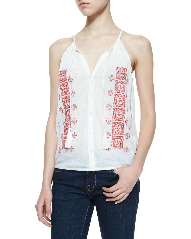 Danelle C Embroidered Tassel Top