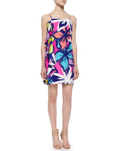 Spaghetti Strap Floral-Print Ruffle Dress