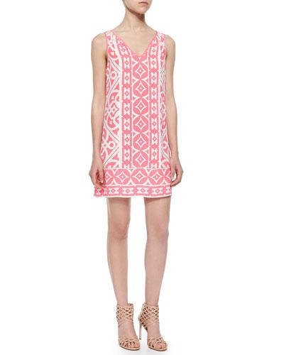 Sleeveless Tile-Print Shift Dress