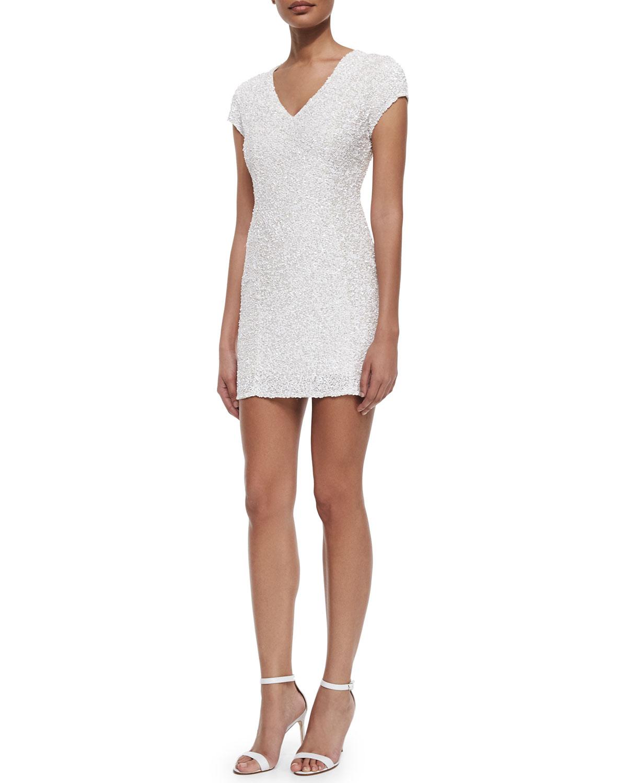Serena Cap-Sleeve Sequined Dress