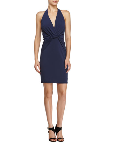 Halter Front-Knot Cocktail Dress, Navy