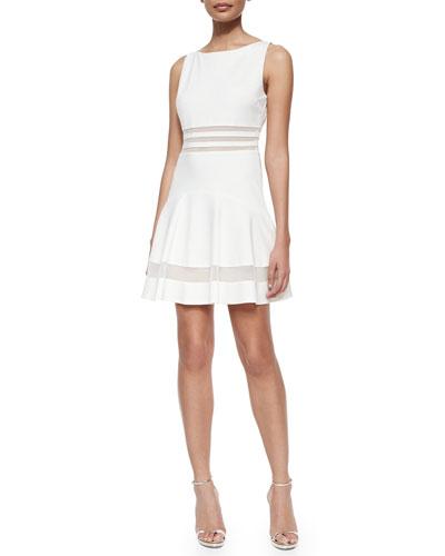Tessa Sleeveless Mesh-Striped Flounce Dress