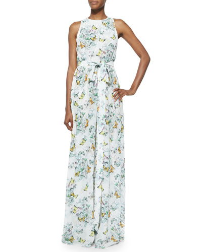 Ava Sleeveless Butterfly-Print Maxi Dress