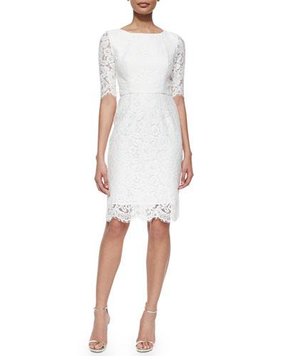 Lisette 3/4-Sleeve Lace Sheath Dress