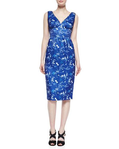 Simone Sleeveless V-Neck Dress, Blue/Multi