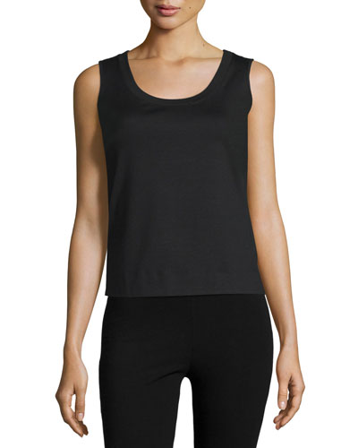 Long Scoop-Neck Tank, Black, Women's