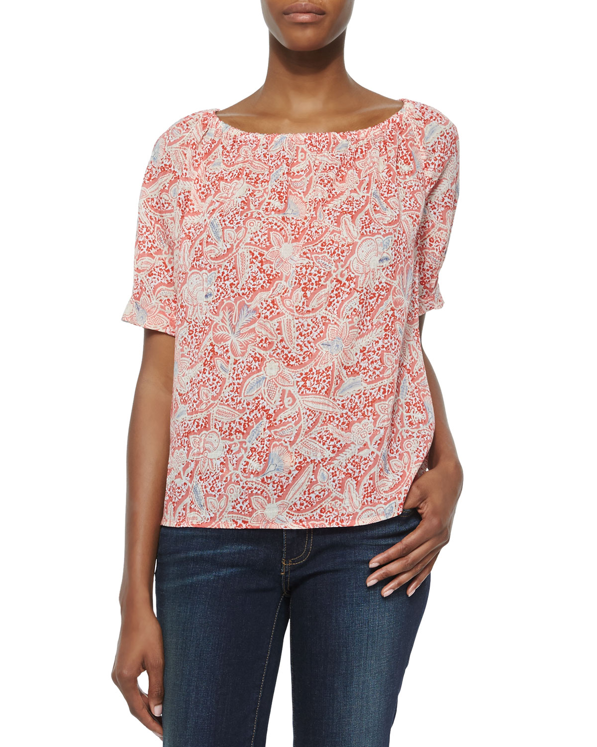 Floral-Print Gauze Relaxed Tunic