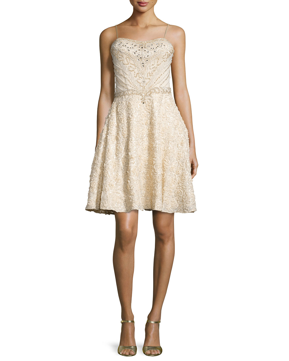 Spaghetti Strap Fit & Flare Sequined Dress