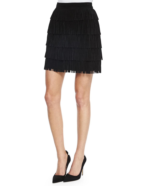 mini fringe leather skirt