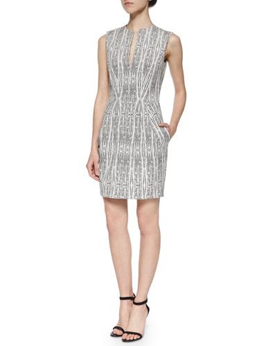 June Split-Neck Sheath Dress