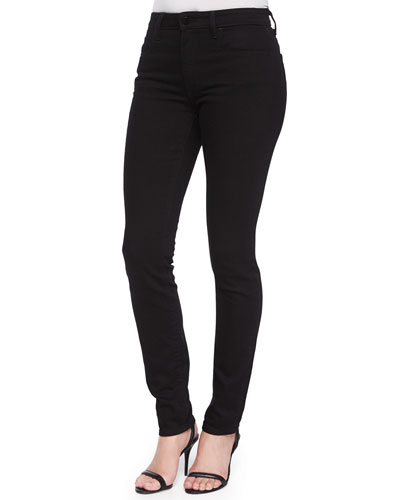 High-Rise Slim-Fit Jeans, Black