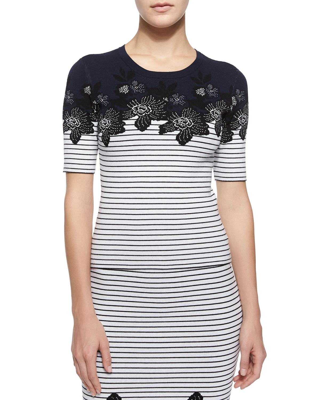 Devon Short-Sleeve Striped Floral Top