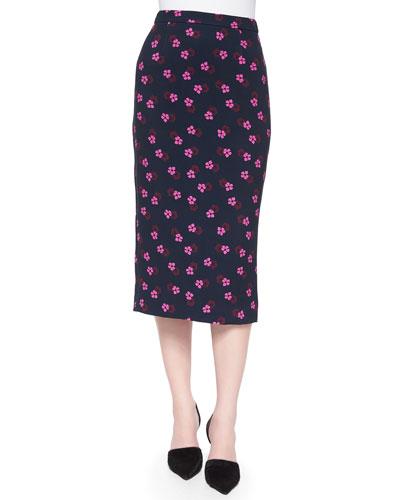Bell Mallow-Print Midi Pencil Skirt