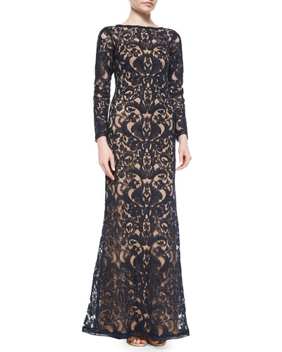 Long-Sleeve Lace Overlay Gown, Navy/Nude