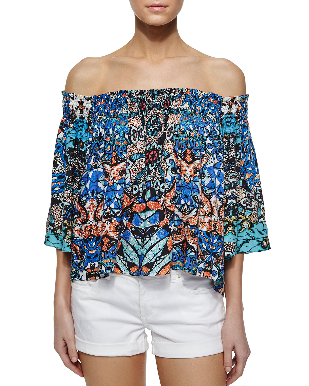 Off-the-Shoulder Smocked Top, Batik Print