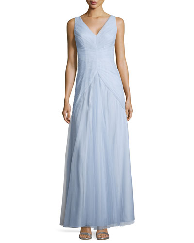 Sleeveless V-Neck Ruched-Bodice Tulle Gown, Dust Blue