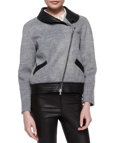 Charlotte Soft-Textured Leather-Trim Jacket