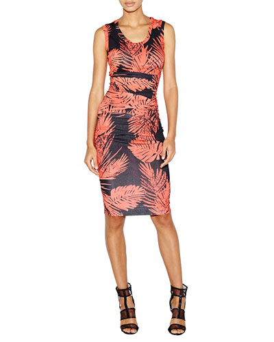 Dakota Palm-Print Jersey Sheath Dress