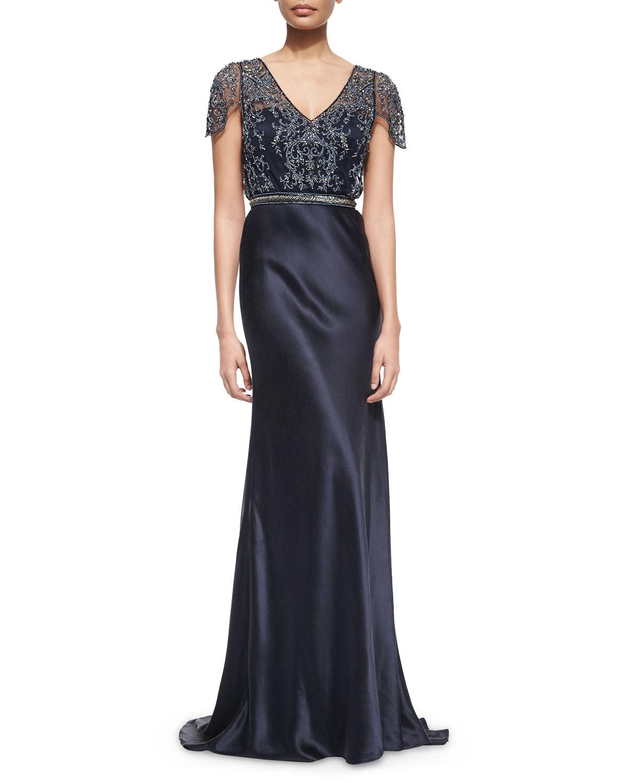 Short-Sleeve Beaded Mesh Bodice Satin Gown