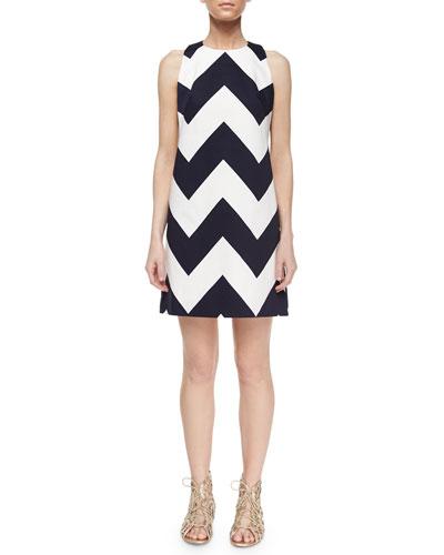 Chevron A-Line Shift Dress