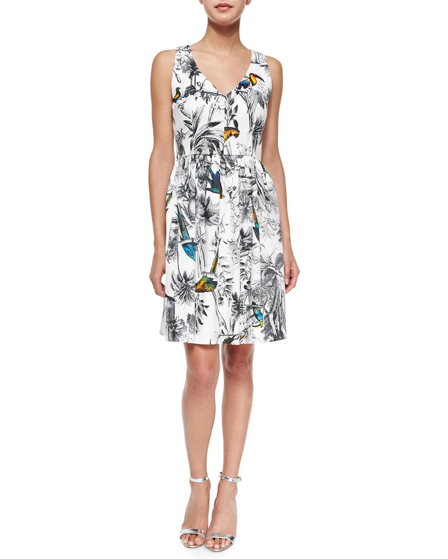Isadora Sleeveless Tropical-Print Dress
