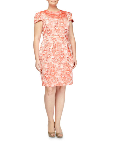Rose-Jacquard Cap-Sleeve Dress, Coral, Women's