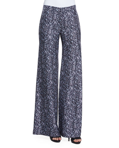 Printed Wide-Leg Trousers W/ Side Slit