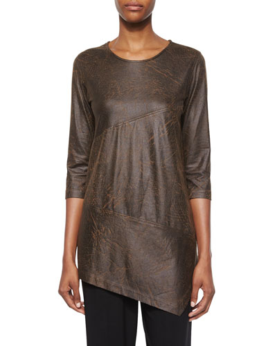 3/4-Sleeve Distressed Faux-Suede Tunic, Petite
