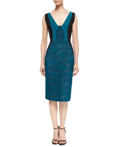 Bicolor Lace Paneled Sheath Dress