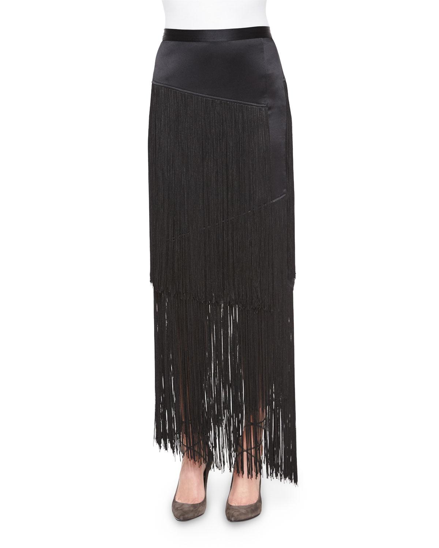 Silk Layered Fringe Skirt, Black