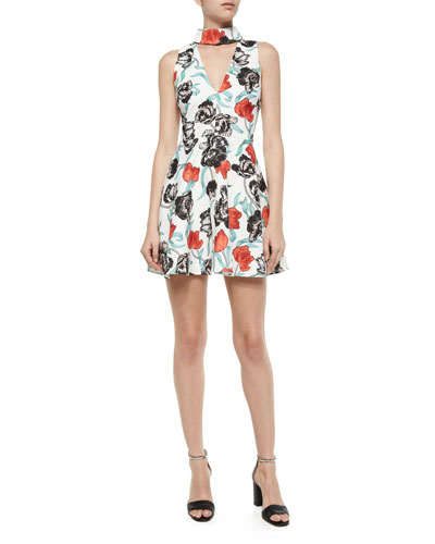 Begin Again A-Line Dress, White/Red Peony