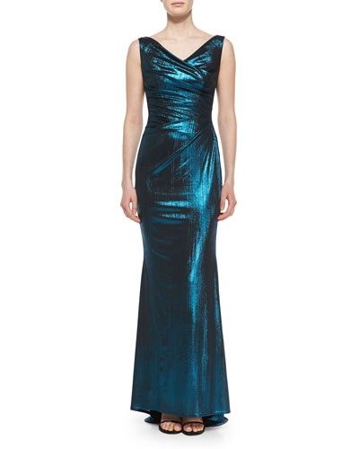 Colly Frosted Pleated Jersey Gown