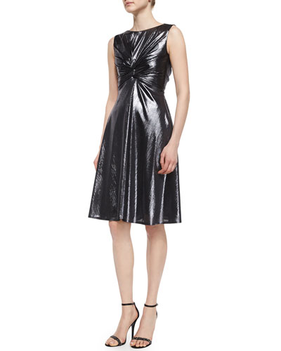 Honore Frosted Knotted Ruched A-Line Dress