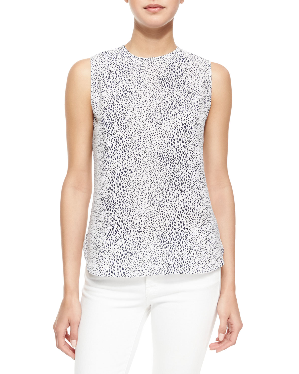 Lyle Animal-Print Tank, Bright White