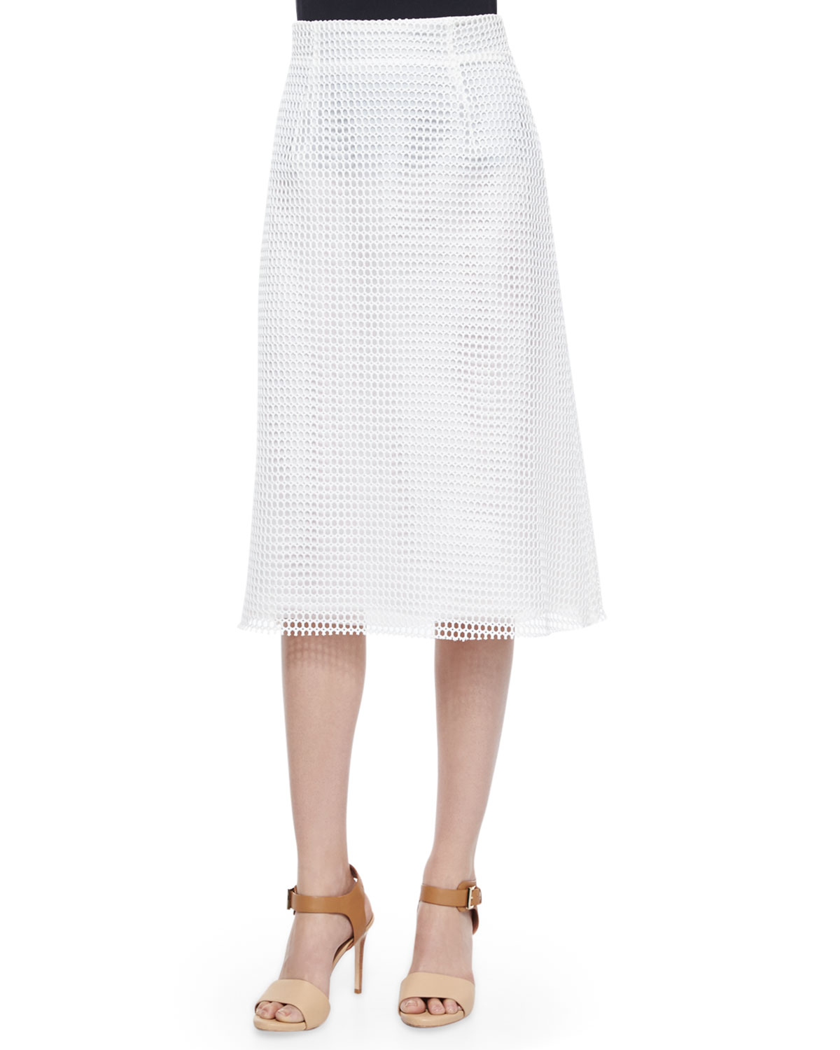 Space Lace Raw-Edge Midi Skirt, Summer White