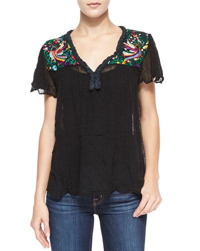 Belen Short-Sleeve Paradise-Embroidered Blouse, Black