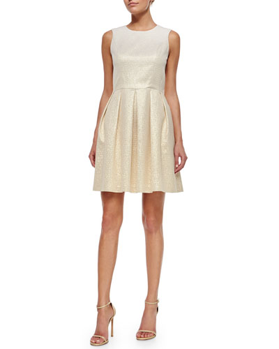 Sleeveless Metallic Striped Pleated Dress