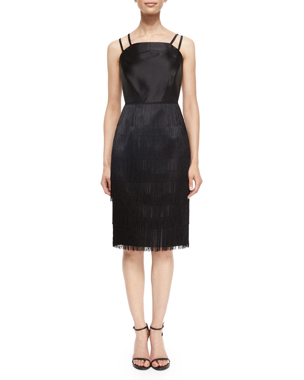 Vera Sleeveless Fringe-Skirt Dress