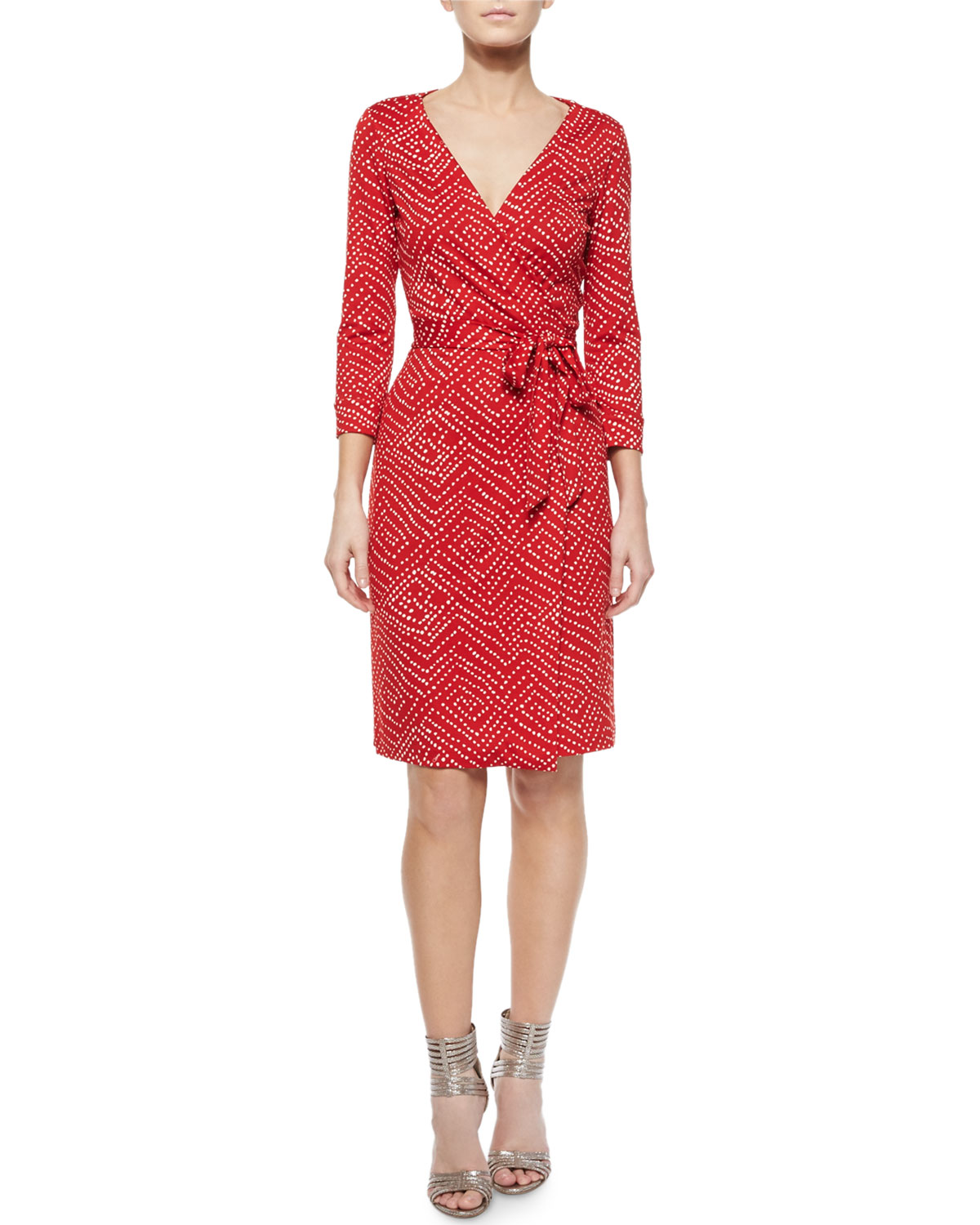 Ditzy Silk Polka-Dot Wrap Dress, Batik Red