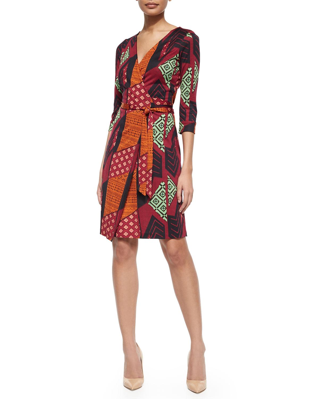 Silk Tribal-Print Wrap Dress, Multicolor