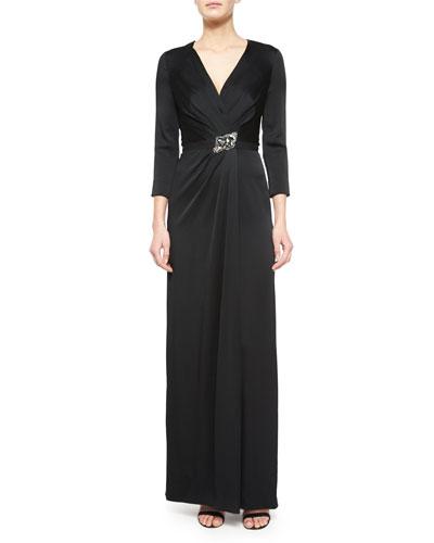 Crystal-Embellished 3/4-Sleeve Satin Gown, Black