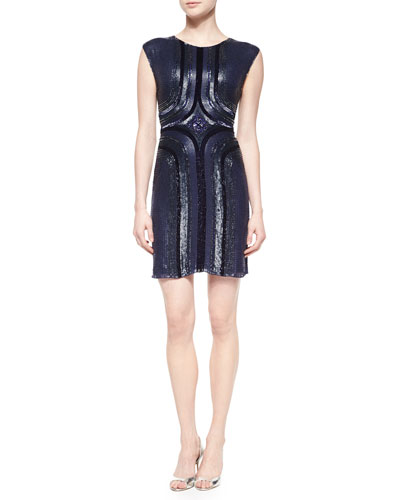 Geometric Sequined Cocktail Dress