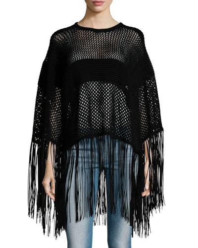 Open-Weave Fringe Poncho, Black