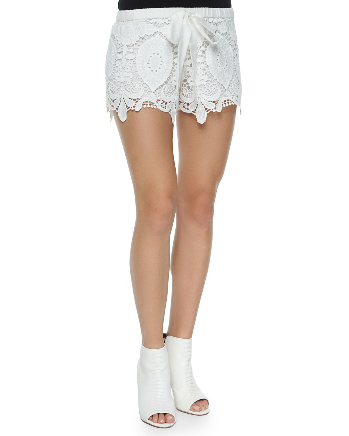 Crochet Drawstring Shorts, White