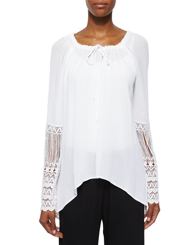 St. Barts Tunic W/ Crochet Sleeves, Plus Size